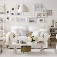 Shabby Chic Living Room Furniture Shabby Chic Living Room With White Sofa And Framed Wall Photos