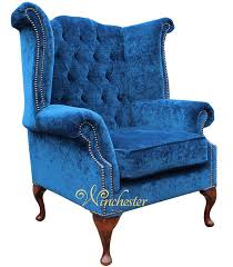 Queen Armchair Chesterfield Fabric Queen Anne High Back Wing Chair Royal Blue