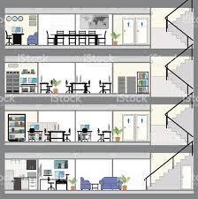 plan des bureaux ouvert de bureaux avec plan de design intérieur cliparts