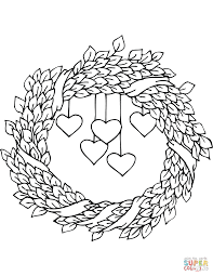 st valentine u0027s day wreath coloring page free printable coloring