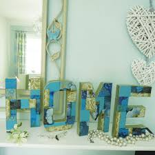 Home Letters Decoration by Home Letters Hand Decorated In Gold U0026 Teal With Deco Mache Papers