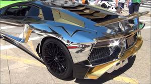 lamborghini aventador gold 2016 lamborghini aventador sv chrome chrome gold wrap youtube