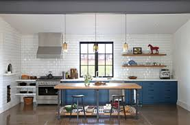 interior sonoma modern farmhouse kitchen white tile backsplash
