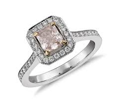 light pink engagement rings radiant cut fancy light pink halo ring in platinum 0 62 ct