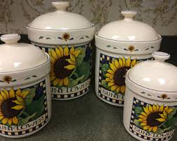sunflower canister sets kitchen vintage ceramic kitchen canisters etsy