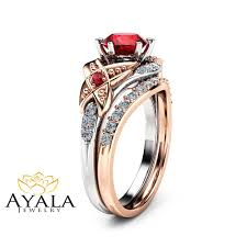 engagement ruby rings images Leaf ruby engagement ring set 14k two tone gold engagement rings jpg