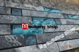 blue glass wall mosaics grey stone glass mosaic tile backsplash