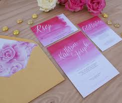 pink ombre wedding invitation handpainted with watercolors