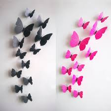 decoration ideas epic picture of 3d black and pink butterfly wall