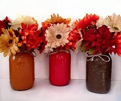 jar floral arrangement home decor fall themed