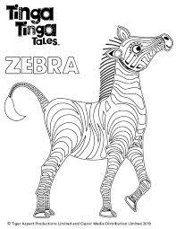 tinga tinga tales black white picture zebra colouring