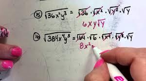 simplifying radicals worksheet 1 30 youtube