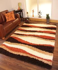shaggy rug thick soft warm terracotta burnt orange cream brown