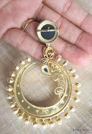 danglers earrings design buy designer blue enamel pearl gold plated dangler earring