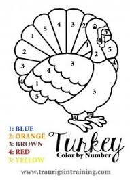 a and simple color by number page for thanksgiving and other