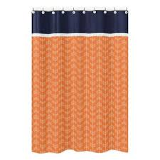 Orange And White Curtains Buy Navy White Curtains From Bed Bath Beyond