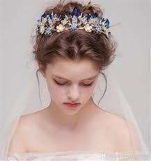 designer hair accessories vintage wedding bridal blue rhinestone tiara headband princess