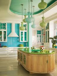 photos hgtv sunny kitchen with oval island and colorful pendant