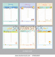 cute calendar 2017 template happy birthday stock vector 478502857