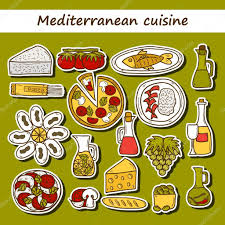 cartoon wine and cheese set of cute hand drawn cartoon stickers on mediterranean cuisine