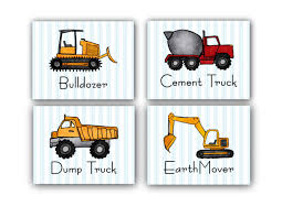 Bedroom Wall Art Sets Amazon Com Construction Boy U0027s Bedroom Wall Art Set Of 4