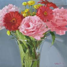 pink peonies fl still life flower vase bouquet orignal oil painting