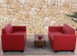 2 er sessel garnitur couch garnitur 2x 2er sofa lyon kunstleder rot