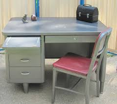 Small Steel Desk Tanker Desk Office Desk Mid Century Metal Desk Furniture