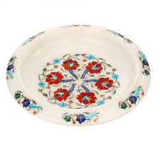 white marble inlaid decorative fruit bowl