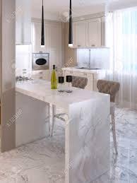 bar dans une cuisine bar comptoir avec chaises de bar dans la cuisine de luxe dans le