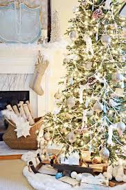 white christmas tree with blue and gold decorations cheminee website similiar picture