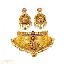 gold necklace india images 22k gold choker necklaces indian gold jewelry from totaram jpg