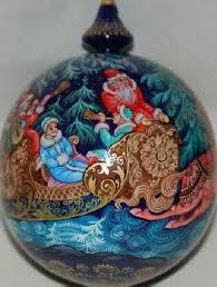 russian troika lacquer painted kholui style ornament