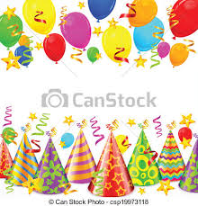 party decorations party decorations party hats serpentines balloons and vector