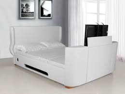 White King Size Bed Frame King Ashton Electric Bed Frame White Faux Leather Tierra Este