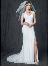 wedding dress high chiffon gown with high slit and halter tie back david s bridal