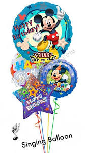 singing balloon delivery mickey birthday ii singing balloon bouquet 4 balloons balloon
