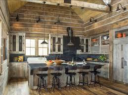 wood ceiling sloped steel beam gray countertop pot rack open