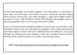 Retail Store Manager Job Description For Resume by Retail Store Manager Resume Sample
