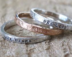 stackable rings with children s names baby gift etsy