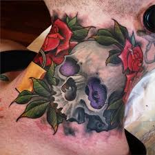 traditional skull with roses on right side neck