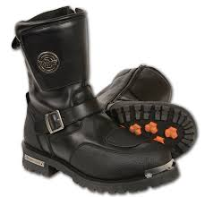 mens brown leather motorcycle boots mbm9070 milwaukee leather men u0027s boot with buckle detail u0026 zip closure