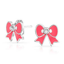 children s earrings childrens stud earrings pink enamel ribbon bow 925 silver