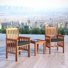 outside chair and table set corliving cinnamon brown hardwood 3pc patio chair and table set