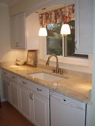 galley kitchen design ideas with modern faucet colorful curtain