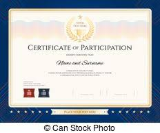 vector of certificate of participation template with gold border
