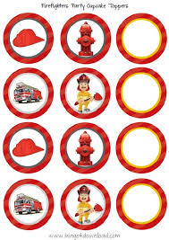 firefighter cupcake toppers bingo for party printables firefighter cupcake toppers