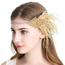 1920s headband sparkling flapper headband 1920s deco gatsby feather headpiece