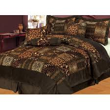 Patchwork Comforter 7 Piece Safari Brown Patchwork Micro Suede Comforter Set Walmart Com