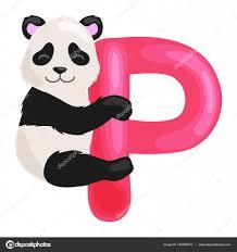 imagenes en ingles con la letra p letra p con animal panda para educación de abc de los niños en edad